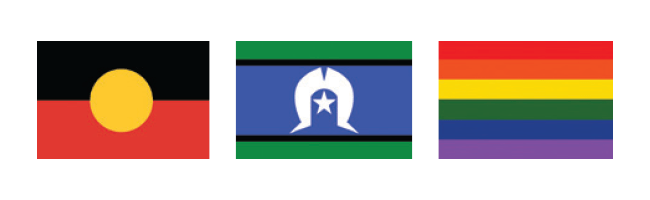 Image of the Aboriginal flag, the Torres Strait Islander flag and the rainbow flag